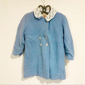 Vintage Coat Peacoat French Blue Lace 60s Size 3t